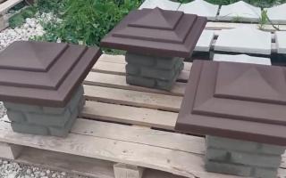 Колпаки для столбов из кирпича