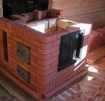 Печь в гараж из кирпича