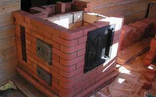 Печка в гараж из кирпича